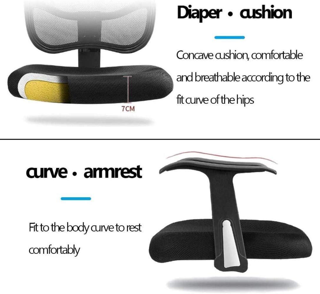 Kontorsstol justerbart stöd, spelstol, datorstol, hem skrivbord hög rygghöjd, justerbart nackstöd huvudstöd nätsäte knästol (färg: svart) gRÖN