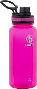 Takeya Tritan Sports Water Bottle with Spout Lid, 32 oz, Fuchsia