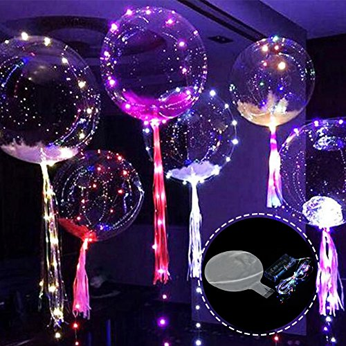 Bubble Balloon,SHZONS 5PCS Glow In The Dark Led Transparent Balloon Flashing Colorful Light For Halloween Christmas Birthday New Year Party Decoration,18 (Glow Bubble)