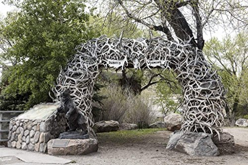 (Photograph| Elkhorn arch in Dubois, Wyoming. The grizzly-bear bronze statue in the left foreground was created by Mike Halterman, a former Dubois resident, of Cripple Creek, Colorado 44in x 30in)
