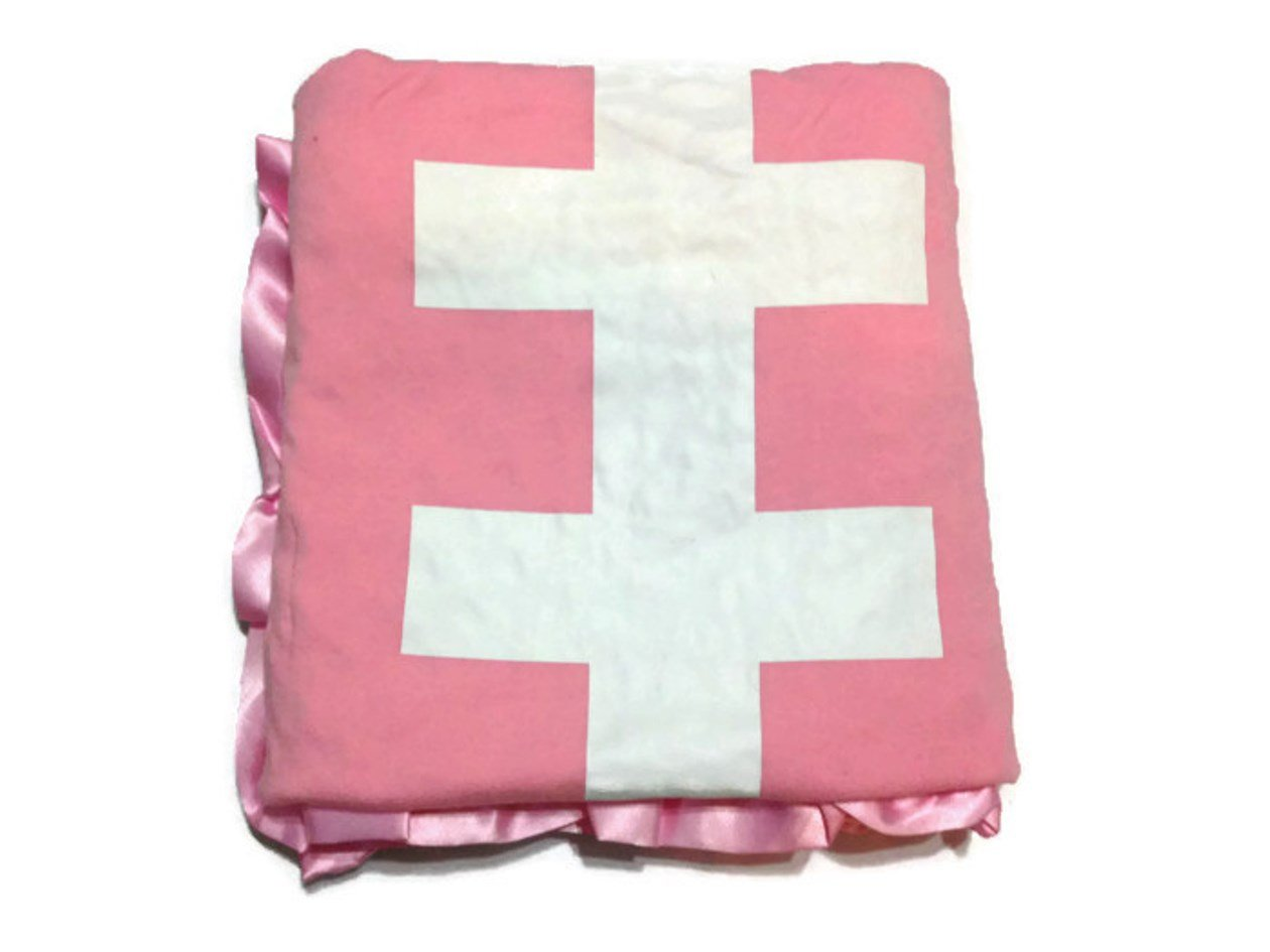 KWC - Soft and Cozy Large Minky Pink blanket - American Foot ball (Touchdown)