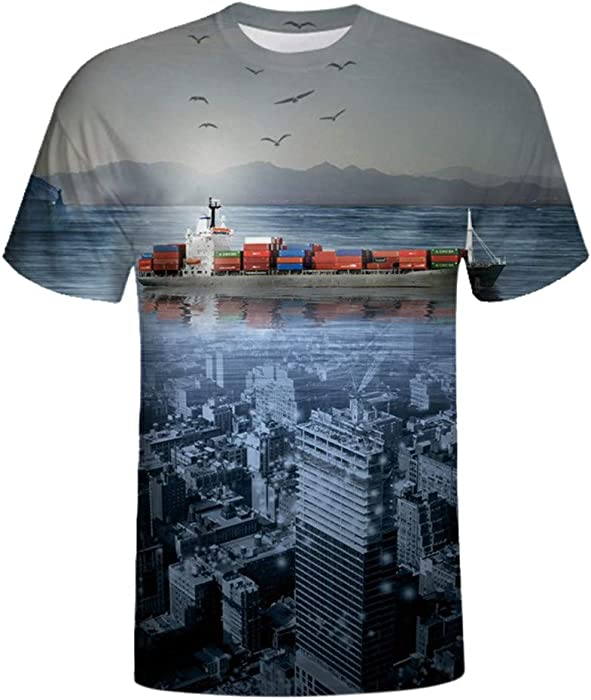 c5e55066 WYTong Men Boy Fashion 3D Digital Printed T Shirt Crew Neck Short Sleeve  Summer Tee Shirt