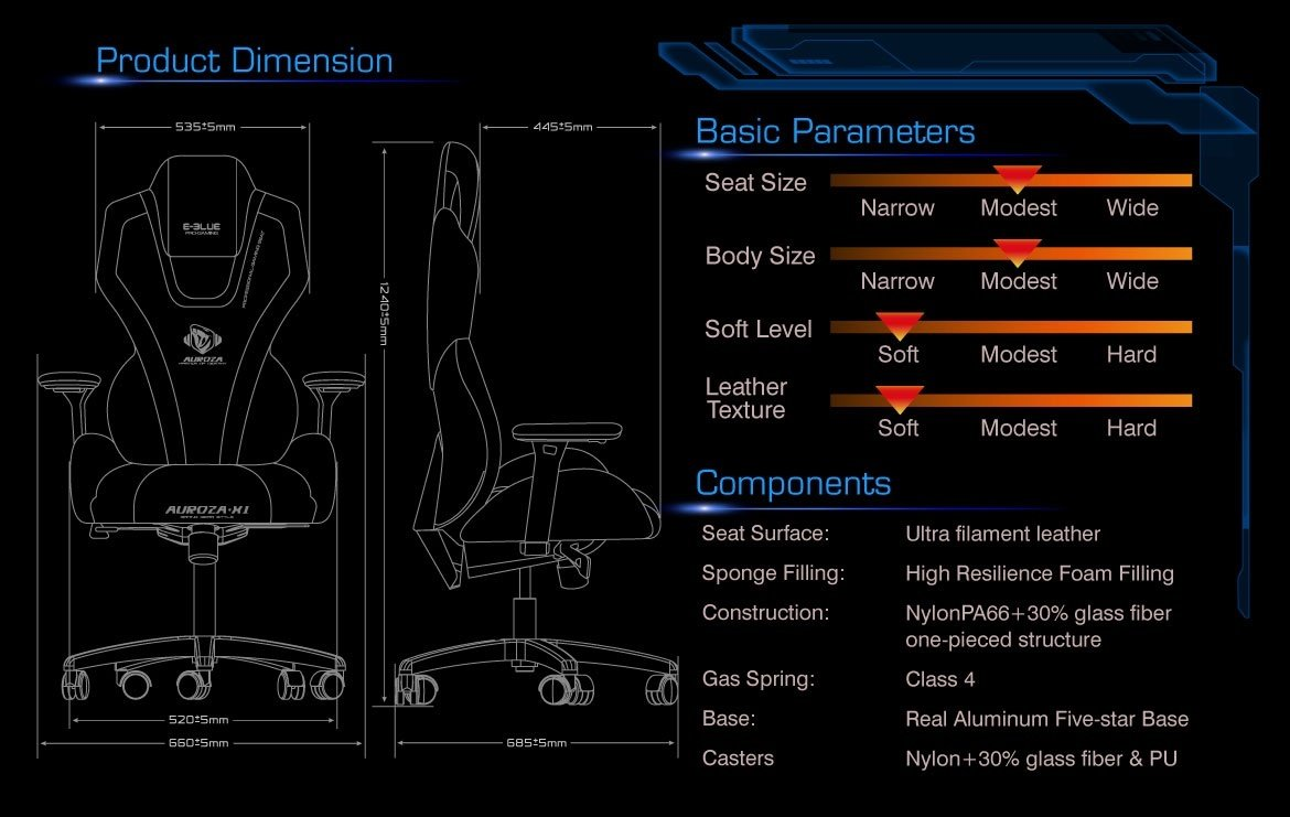 E-Blue Auroza Gaming Lighting Chair High Grade PU Leather PC Gaming Racing Bucket Seat Office Ergonomic Computer eSports Desk Executive LED Lights EEC301R (Black and Red)