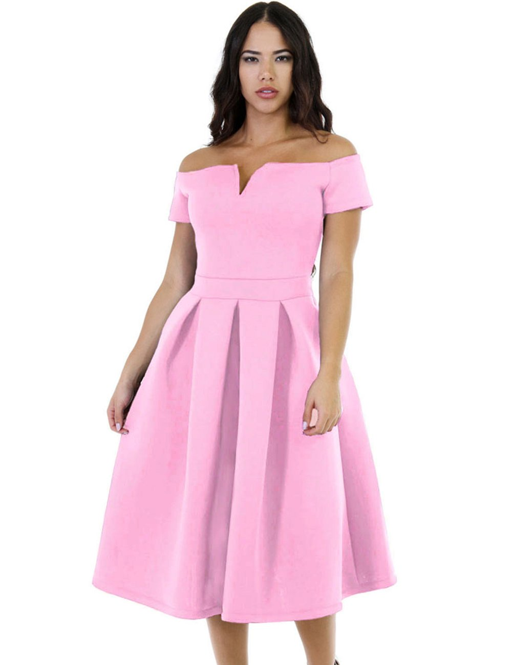 Lalagen Women's Vintage 1950s Party Cocktail Wedding Swing Midi Dress Pink XXXL