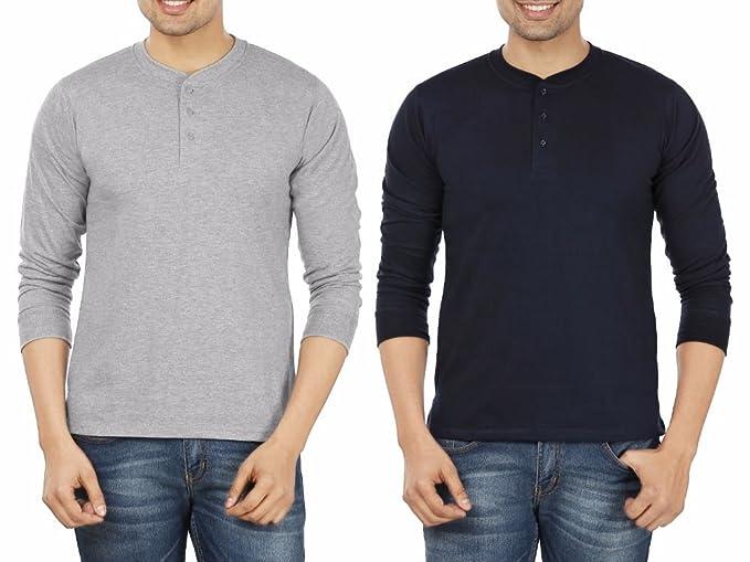 59f50737b6c Weardo Men s Cotton T-Shirt (Combo of 2)  (WHENEWGreyNavy Multi-Coloured Small)