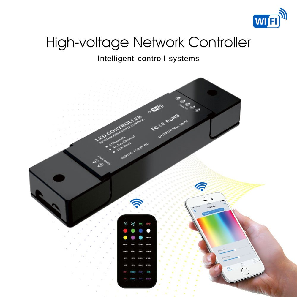 Signcomplex WiFi Wireless LED Smart Controller Dimming Controller Working with Android and IOS System App for RGB LED Strips 12V to 24V DC 4A 4 Channels Comes with One 36 Keys Remote Controller