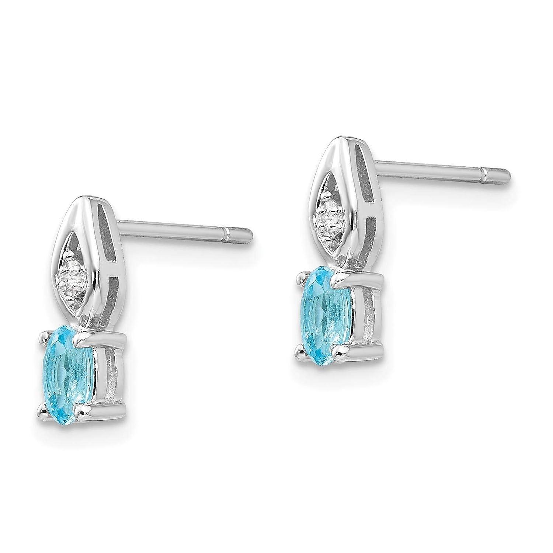 14K White Gold Diamond /& Blue Topaz December Oval Stone Post Earrings