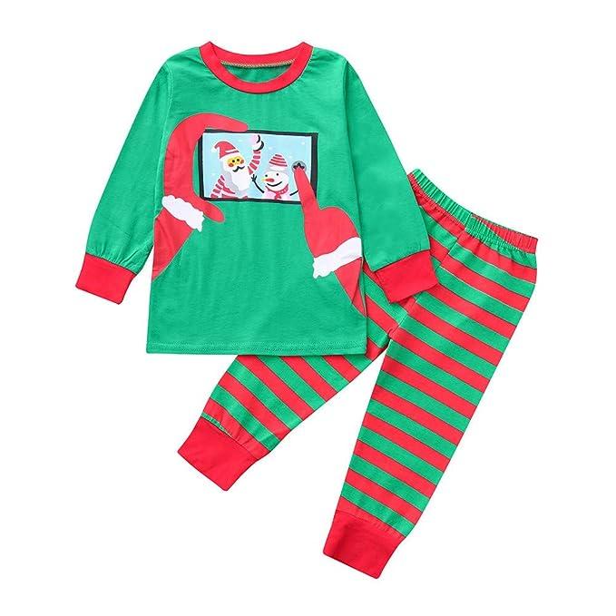 K-youth Conjunto de Pijamas Ropa Familiar Navidad Fiesta Papá Noel Impresión Rayas Camisetas Manga