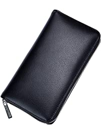 Leather Card Holder, Long Wallet Passport Bag, 36 Card Slots, Multi-Function Men and Women Large-Capacity Business Card...