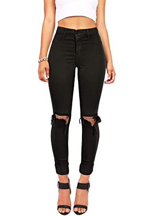 d3e24d8c2af0d2 Vibrant Women's Juniors Faded High Waist Jeans w Knee Rips at Amazon ...