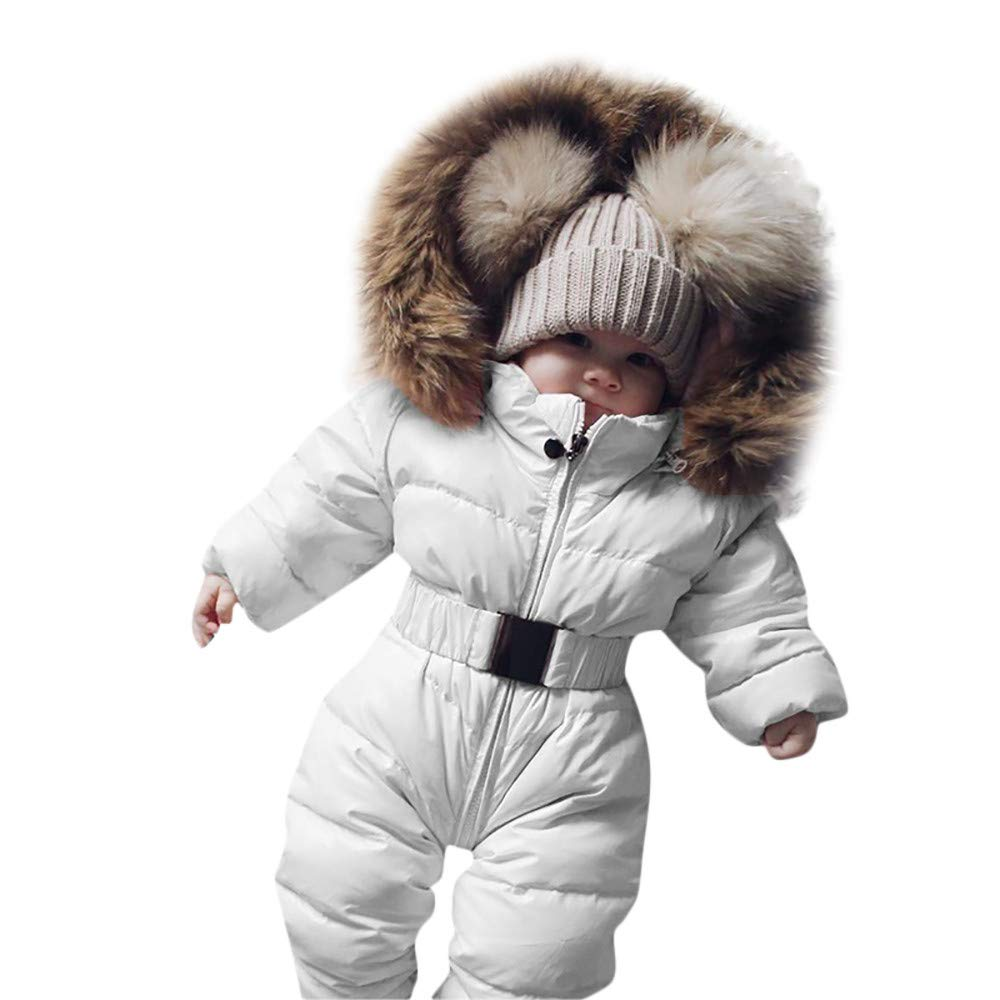 Handyulong Newborn Infant Baby Boys Girls Clothes Winter Down Snowsuits Hooded Romper Jumpsuit Warm Jacket Coat Outfits White by Handyulong Baby Clothes