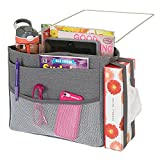 mDesign Bedside Hanging Storage Organizer Caddy Pocket - 4 Deep Pockets, 1 Mesh Front Pocket, Elastic Side Straps for Tissue Boxes - Heavy Weight Cotton Canvas, Metal Wire Insert - Charcoal Gray/Satin
