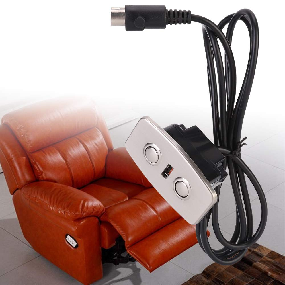Electric Recliner Chair Sofa Replacement Button,Electric Recliner Push Rod Motor Telescopic Lifting Line Controller LED Backlight USB Socket Mobile Phone Charging Straight 5V