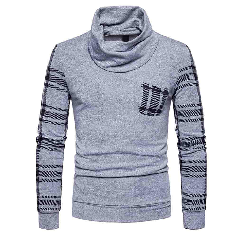 PASATO Mens Autumn Winter Casual Long Sleeve Patchwork Striped Sweater Top Blouse Clearance Sale