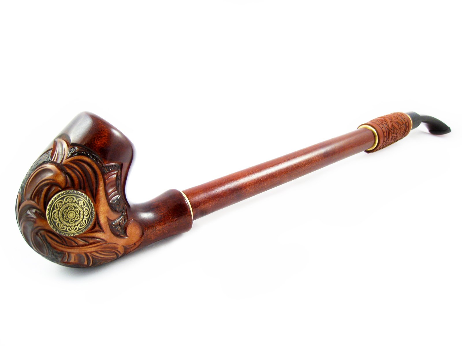 NEW Churchwarden ''NORDIC'' Wooden Tobacco Pipe Decorated with Leather, Handcrafted Smoking Pipe of Pear Wood 13'', Designed for pipe smokers ... (1)
