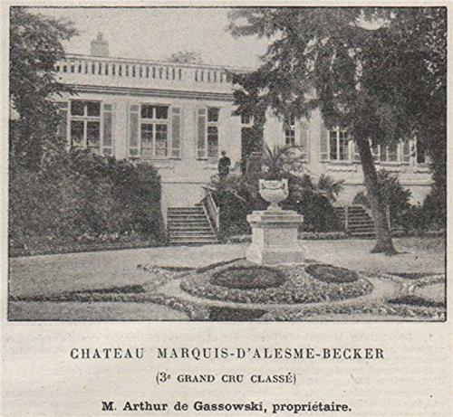 MÉDOC. Margaux. Chateau Marquis d'Alesme-Becker. 3e Grand Cru Classé. Small - 1908 - Old Print - Antique Print - Vintage Print - Printed Prints of Gironde