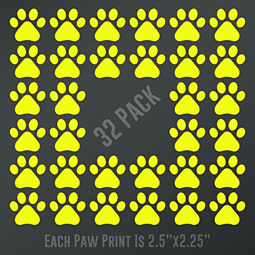 CMI DD898Y Dog Paw Prints 32-Pack | Each paw 2.5-Inches By 2.25-Inches | Premium Quality Yellow Vinyl
