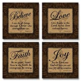 Love Faith Joy Believe Religious Bible Prints by Todd Williams; 4-12x12'' Unframed Paper Posters