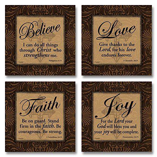 Love Faith Joy Believe Religious Bible Prints by Todd Williams; 4-12x12