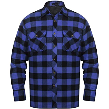 78585b3a584 Festnight Men's Padded Plaid Flannel Shirt Classic Slim Fit Casual Style  with Long Sleeve - Blue-Black Checkered Size L: Amazon.co.uk: Kitchen & Home