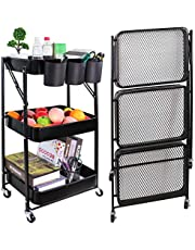 Aewio 3-Tier Foldable Metal Rolling Utility Cart Organizer Shelf Storage Cart for Office Home Kitchen Bathroom Laundry Room Store etc.
