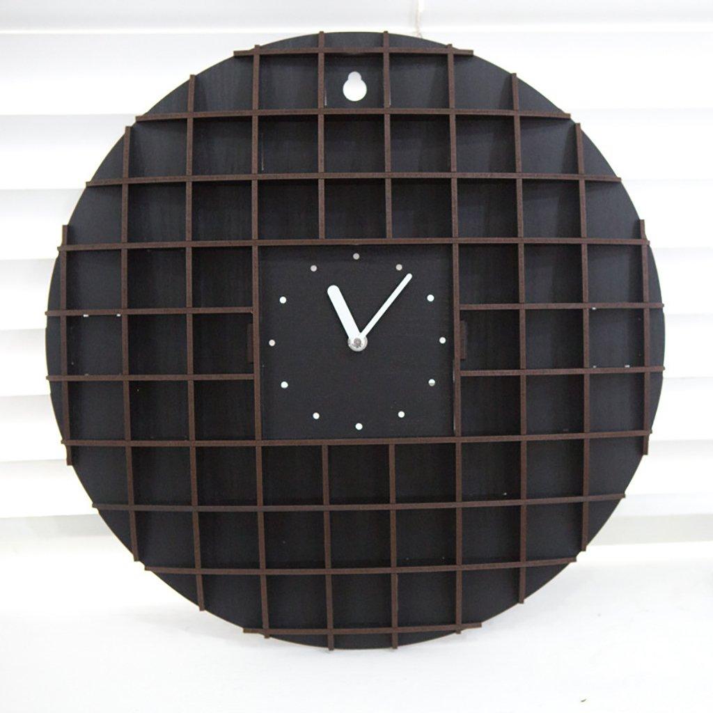 ウォールクロックレトロノスタルジックウッド16インチサイレントクォーツ時計ウッド創造性装飾ポケットウォッチリビングルームレストラン,A B07F2ZKGBV A A