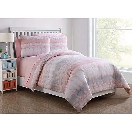 Amazoncom 7 Piece Girls Pink Grey White Tie Dye Comforter Full Set