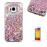 For Galaxy S8 Case,Samsung Galaxy S8 Glitter Case,Funyye 3D Creative Floating Water Liquid Small Love Hearts Design Luxury Sparkly Bling Glitter Back Hard Shell Protective Case Cover With Soft TPU Bumper Samsung Galaxy S8-Rose Gold