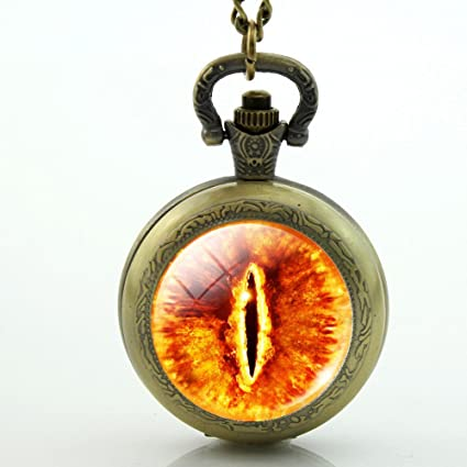 Vintage Sauron Eye Photo Cabochon Glass Bronze Chain Pendant Necklace