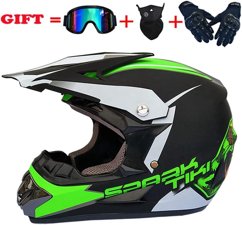 Design1, XL IKHNGLE Motocross-Helm AM Motorrad Crosshelme City Helme Motorrad Motocross Motorradhelme /& Handschuhe /& Schutzbrillen D.O.T Standard Kinder Quad Bike ATV Go-Kart-Helm