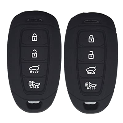 Ezzy Auto Pack 2 Black Silicone Rubber Key Fob Case Key Covers Key Jacket Skin Protectors fit for Hyundai Kona Azera Grandeur IG: Automotive