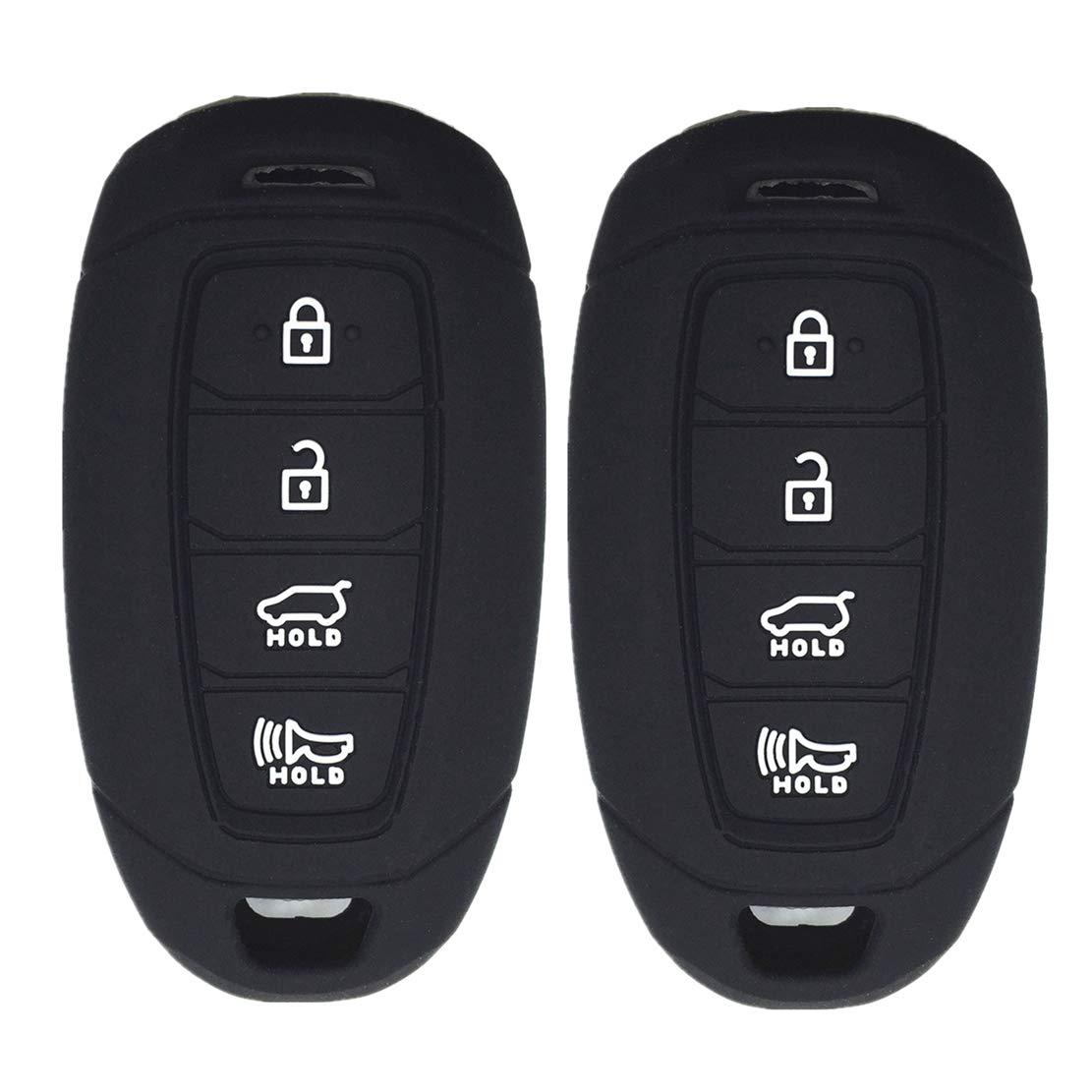 Ezzy Auto Black and Rose Silicone Rubber Key Fob Case Key Covers Key Jacket Skin Protectors fit for Hyundai Kona Azera Grandeur IG