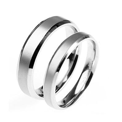 535ceec911b5 Daesar 1 Stück Partnerring Edelstahl Damen Ring Matt Fertig Rund Eheringe  Silber Paarringe Größe 45 (