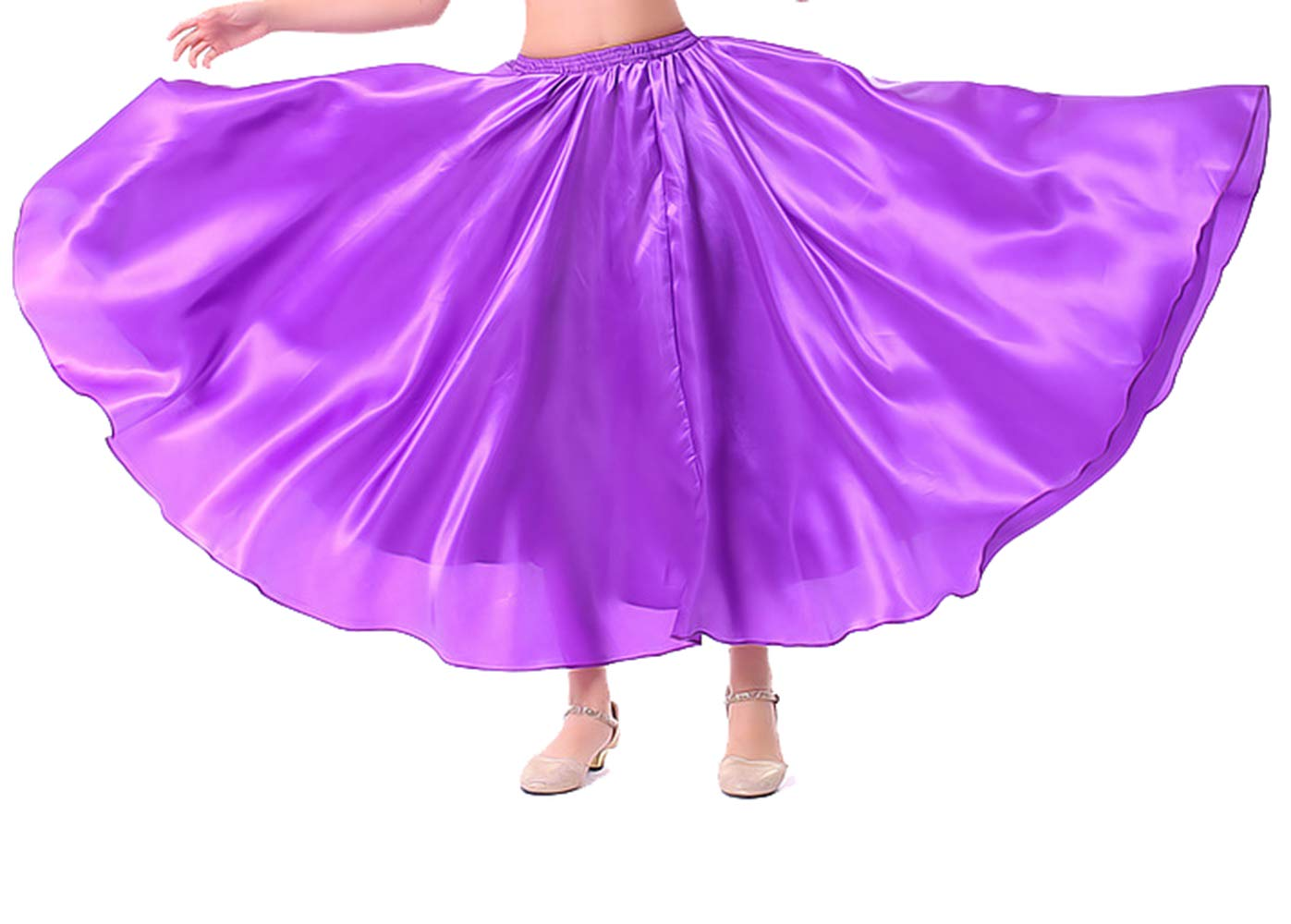 Lauthen.S Kids Gilrs Skirt for Belly Dance/Performance/Halloween Party, Satin Full Circle Tribal Skirt(Purple,L) by Lauthen.S