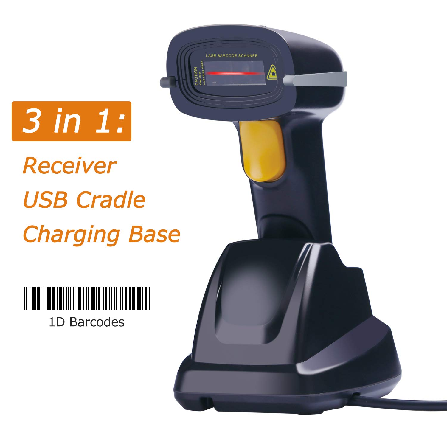 Tera Barcode Scanner Wireless with Charging Cradle 2.4G Barcode Reader Handheld 1D Barcode Scanning 100m Transfer Range without Barrier 3-in-1(USB Cradle, Charging Base, Receiver) EVHK0005