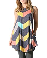 ICOCOPRO Women's Sleeveless Striped Color-block Patchwork Swing A-line Tank Dress Loose-and -Fit Tunic Top with Pocket
