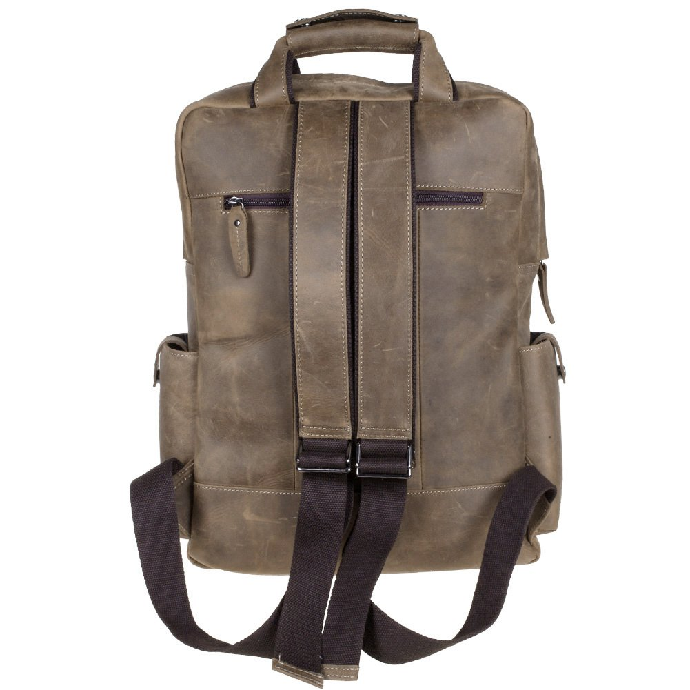 S-ZONE Vintage Crazy Horse Genuine Leather Backpack Multi Pockets Travel  Sports bag  ( 3c5bc4df49fa5