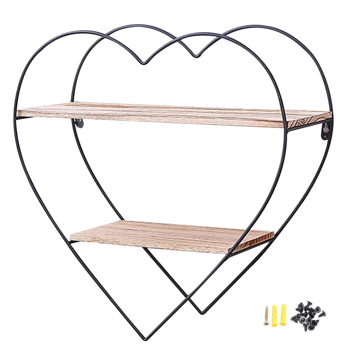 KING DO WAY Design Wandregal 50cm - 3 Holz Ablagen - 50 x 50 x 19 cm Metall Hängeregal Vintage und Natur Stil, Bad Regal Küchenregal … (Diamant 3 Schichten) KING DO WAY Co. LTD