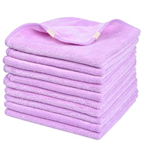 Sinland Microfiber Facial Cloths Fast Drying Washcloth 12inch x 12inch Light Purple 10 pack