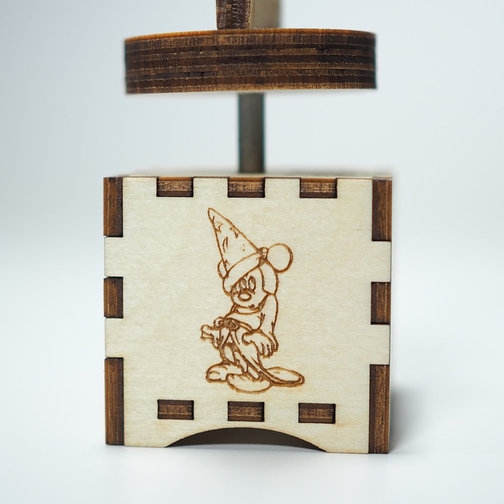 Fantasia Music Box - The Sorcerer's Apprentice - Laser cut and laser engraved wood music box. Perfect gift, memorabilia, collectible by Quetzal Studio (Image #6)