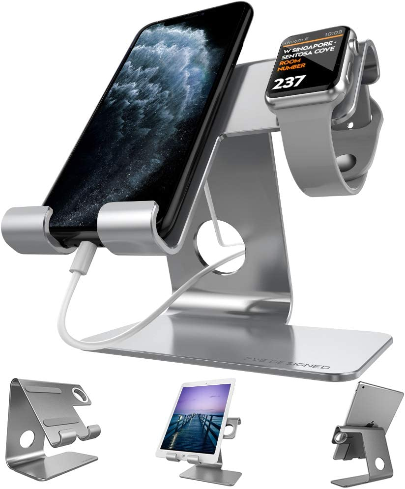 Desktop Cell Phone Stand, ZVEproof Aluminum Phone Dock Cradle Tablet Stand Holder, for Switch, iWatch, iPad, E-Reader, Mobile Phone, Android Smartphone, iPhone 11 Xs Max Xr X, Accessories Desk - Grey