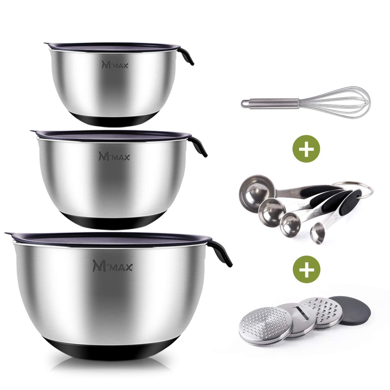 M-Max 3 Piece Stainless Steel Mixing Bowls with Lids, 3 Graters, Whisk and 4 Measuring Spoons