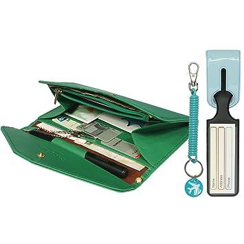 kilofly Multi Pocket Passport Wallet Luggage Tag Coil Keychain Travel Combo 31492
