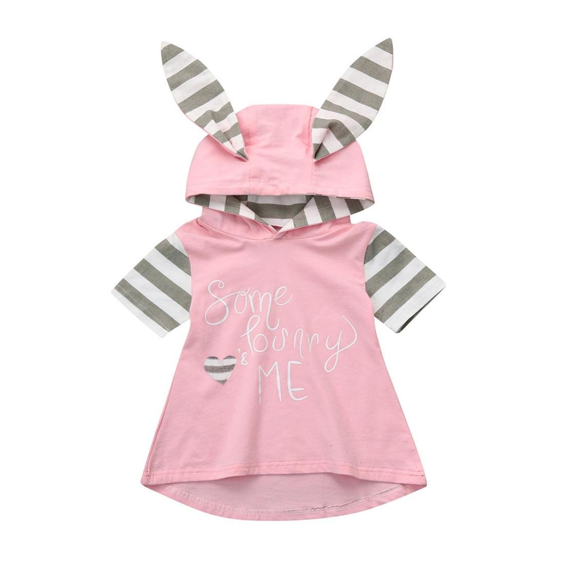 G-real Toddler Baby Girls Cute Easter Rabbit Ear Hooded Dress Letter Heart Print Playwear Dress for 6M-3T