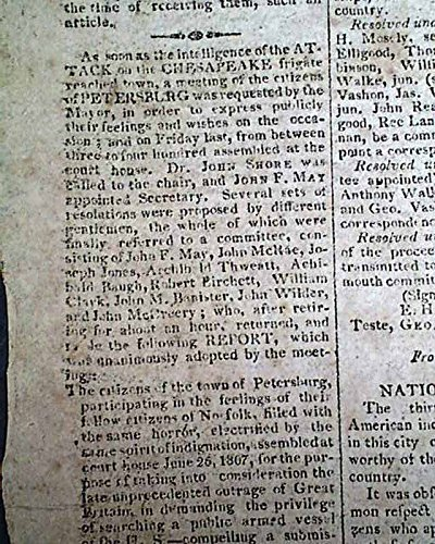 CHESAPEAKE-LEOPARD AFFAIR Norfolk Virginia Naval Engagement 1807 Old Newspaper NATIONAL INTELLIGENCER, Washington, D.C., July 10, 1807