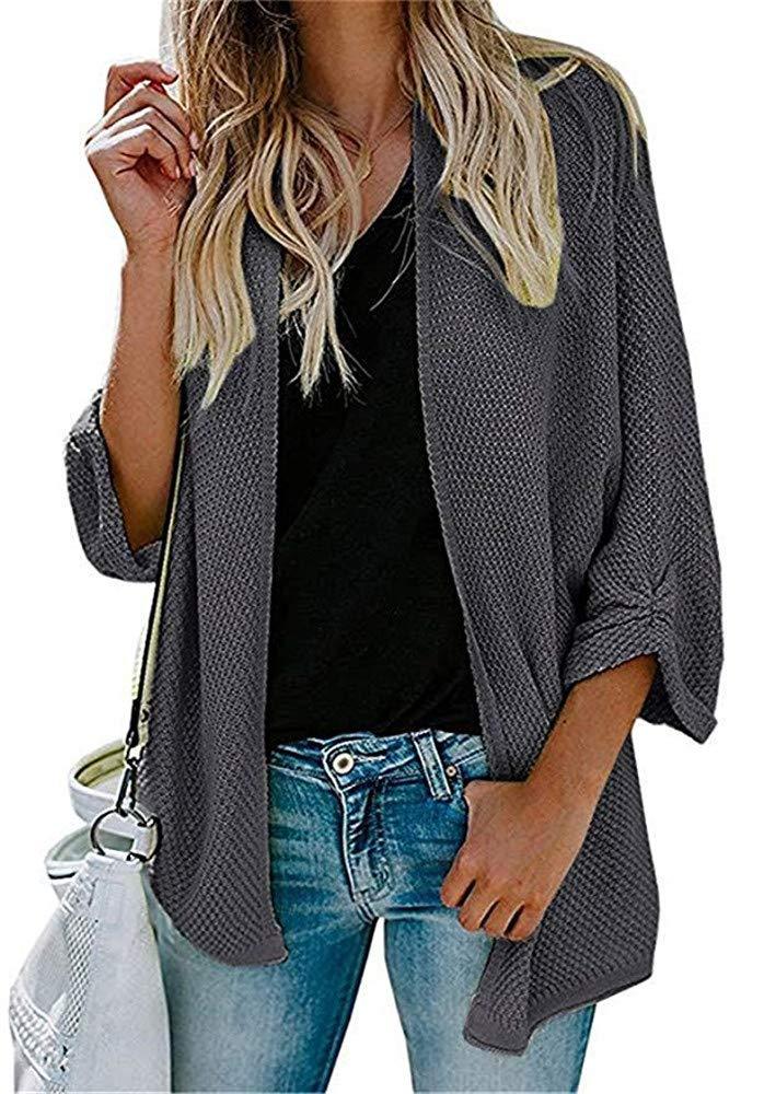 Huiyuzhi Womens Cardigan Sweaters Loose Long Casual Open Front Knit Sweater Drape Coats (L, Grey)