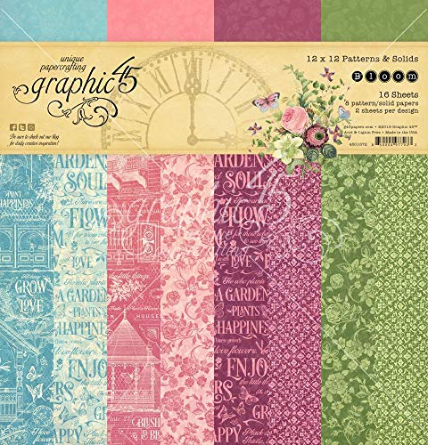 Graphic 45 4501872 Bloom Paper Pad 12x12 SLD/Ptrn
