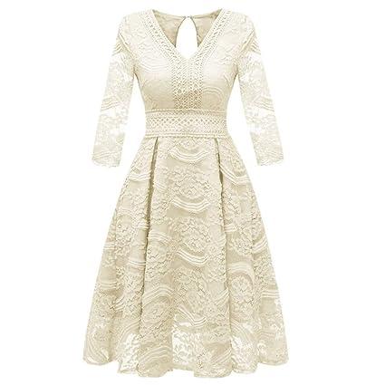 ZSRHH-Falda Vestido de Mujer Vestido con Vuelo con Cuello en V y ...