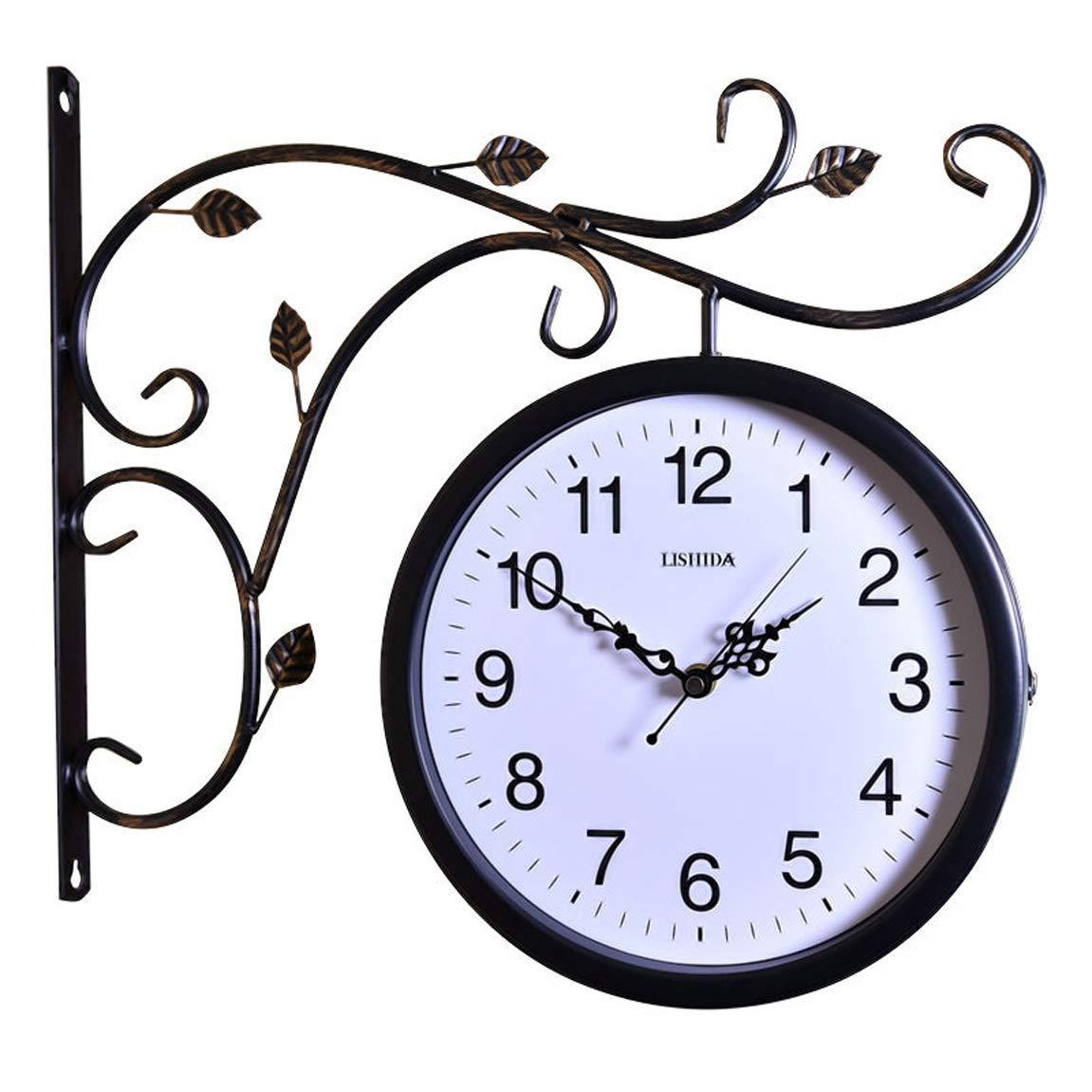 ホームデコレーションクリエイティブパーソナリティウォールクロックJYT、 レトロな壁時計サイレントヨーロッパ両面時計アメリカの農村リビングルームの壁時計クラフト時計15 ファッション雑貨   B07RGJR6HD