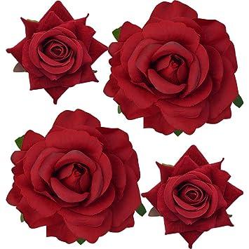 Women Plastic Flower Pattern 20 Teeth Barrette Hair Claw Red Gold Tone